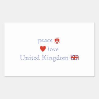 Amor Reino Unido de la paz Rectangular Pegatinas