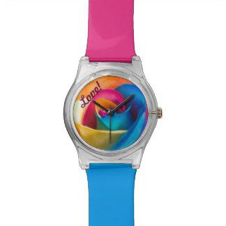 ¡Amor! Reloj color de rosa azul del pétalo de la f