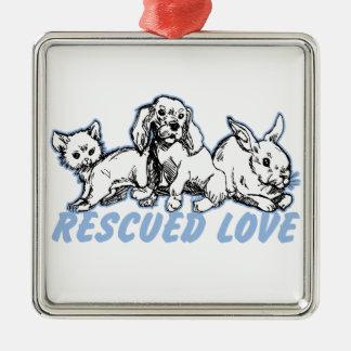 Amor rescatado animales ornamento para arbol de navidad