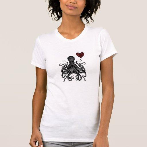 ¡Amor retro de Kraken del pulpo de Steampunk! Engr Camisetas