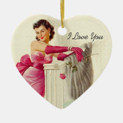 Amor retro de los años 50 adorno navideño de cerámica en forma de corazón