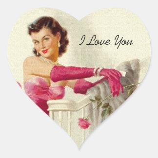 Amor retro de los años 50 pegatina en forma de corazón
