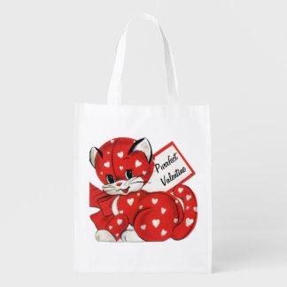 Amor retro de los corazones blancos rojos del gato bolsas de la compra