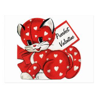 Amor retro de los corazones blancos rojos del gato postales