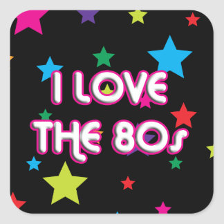 Amor retro del cultura Pop I los años 80 Pegatina Cuadrada