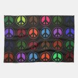Amor retro del hippy del signo de la paz toallas de mano