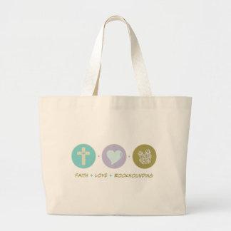 Amor Rockhounding de la fe Bolsa Tela Grande