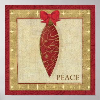 Amor rojo de la decoración del navidad póster