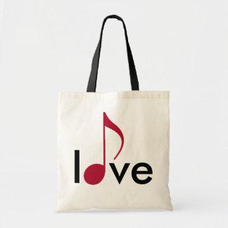 amor rojo de la musical-nota bolsa tela barata