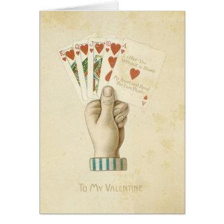 Amor rojo de los corazones de la mano de póker del tarjeta