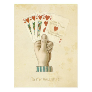 Amor rojo de los corazones de la mano de póker del postal