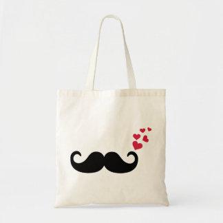 Amor rojo de los corazones del bigote bolsa lienzo