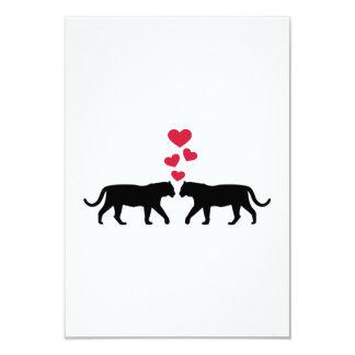 """Amor rojo de los corazones del tigre invitación 3.5"""" x 5"""""""