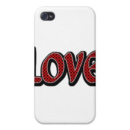 Amor rojo de Polkadot iPhone 4 Carcasas