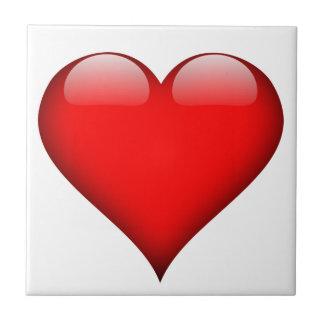 Amor rojo del corazón azulejo cuadrado pequeño