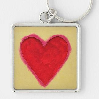 Amor rojo del corazón llavero personalizado