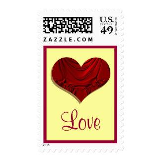amor rojo del corazón sellos