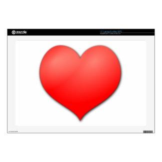 Amor rojo del corazón skins para 43,2cm portátil