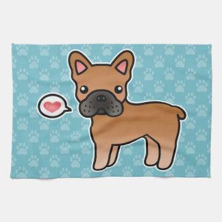 Amor rojo del dogo francés del dibujo animado toallas de mano