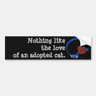 Amor rojo del gato del corazón del cuello azul pegatina de parachoque