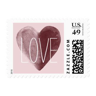 Amor rojo del rosa del corazón de la acuarela timbre postal