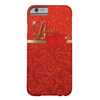 Amor rojo elegante del brillo funda para iPhone 6 barely there