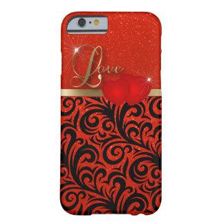 Amor rojo elegante del brillo funda de iPhone 6 barely there