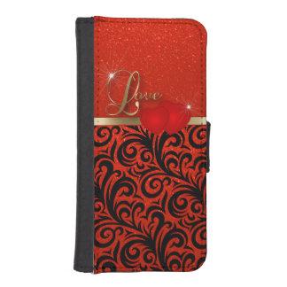 Amor rojo elegante del brillo fundas cartera para teléfono