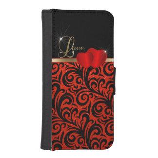 Amor rojo elegante del brillo funda tipo cartera para iPhone 5