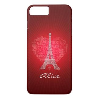 Amor rojo París de Personalizable Funda iPhone 7 Plus
