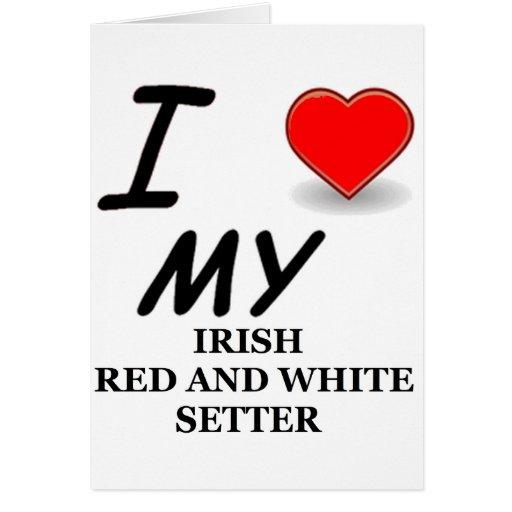 amor rojo y blanco irlandés del organismo tarjeta de felicitación