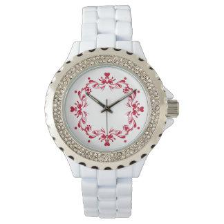 Amor rojo y pata en blanco reloj