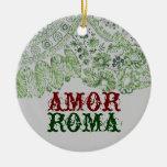 Amor Roma con el cordón verde Adorno Navideño Redondo De Cerámica