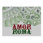 Amor Roma con el cordón verde Postal