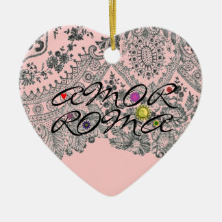 Amor Roma Double-Sided Heart Ceramic Christmas Ornament
