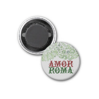 Amor Roma With Green Lace 1 Inch Round Magnet