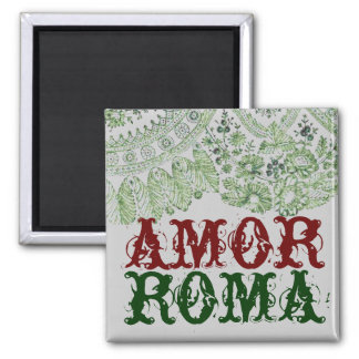 Amor Roma With Green Lace 2 Inch Square Magnet