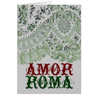 Amor Roma With Green Lace Greeting Card