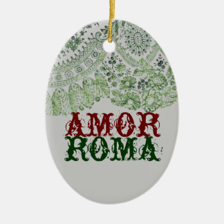 Amor Roma With Green Lace Double-Sided Oval Ceramic Christmas Ornament