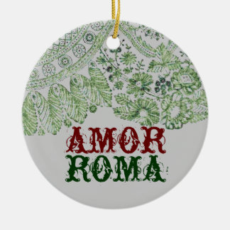 Amor Roma With Green Lace Double-Sided Ceramic Round Christmas Ornament