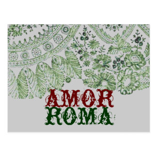 Amor Roma With Green Lace Postcard