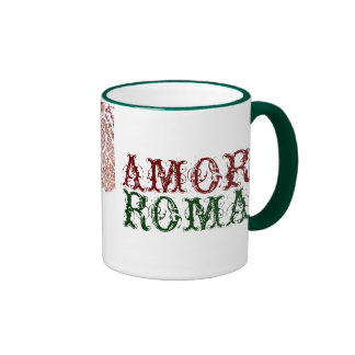 Amor Roma With Green Lace Ringer Coffee Mug