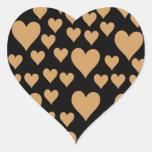 Amor, romance, corazones - Brown negro Pegatina En Forma De Corazón