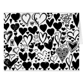 Amor, romance, corazones - negro tarjeta de felicitación grande