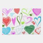 Amor, romance, corazones - verde rosado azul rojo toalla de cocina