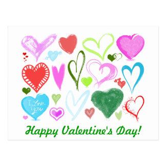 Amor, romance, corazones - verde rosado azul rojo tarjetas postales