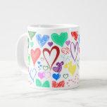 Amor, romance, corazones - verde rosado azul rojo taza extra grande