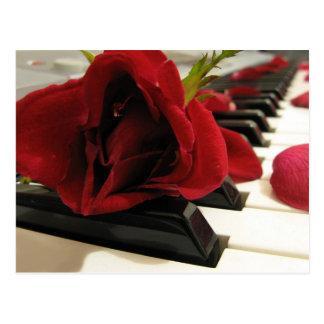 Amor romántico del rosa rojo tarjeta postal