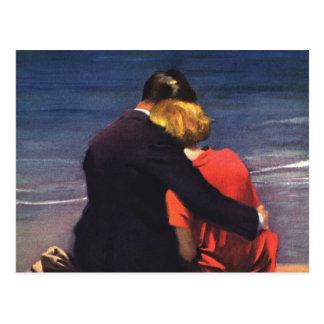 Amor romántico del vintage, romance en la playa postales
