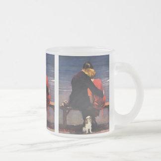 Amor romántico del vintage, romance en la playa taza de café esmerilada